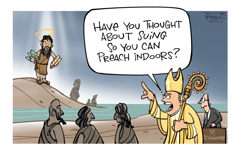 A Mark Fiore cartoon depicting miracle of the loaves and fishes with Jesus and Archbishop Salvatore Cordileone asking if Jesus has thought about suing so he can preach indoors.