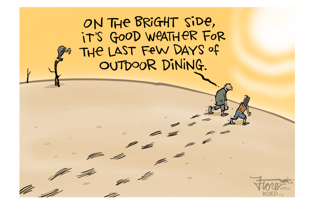 A Mark Fiore cartoon about drought and stay-at-home orders amid the COVID-19 pandemic.