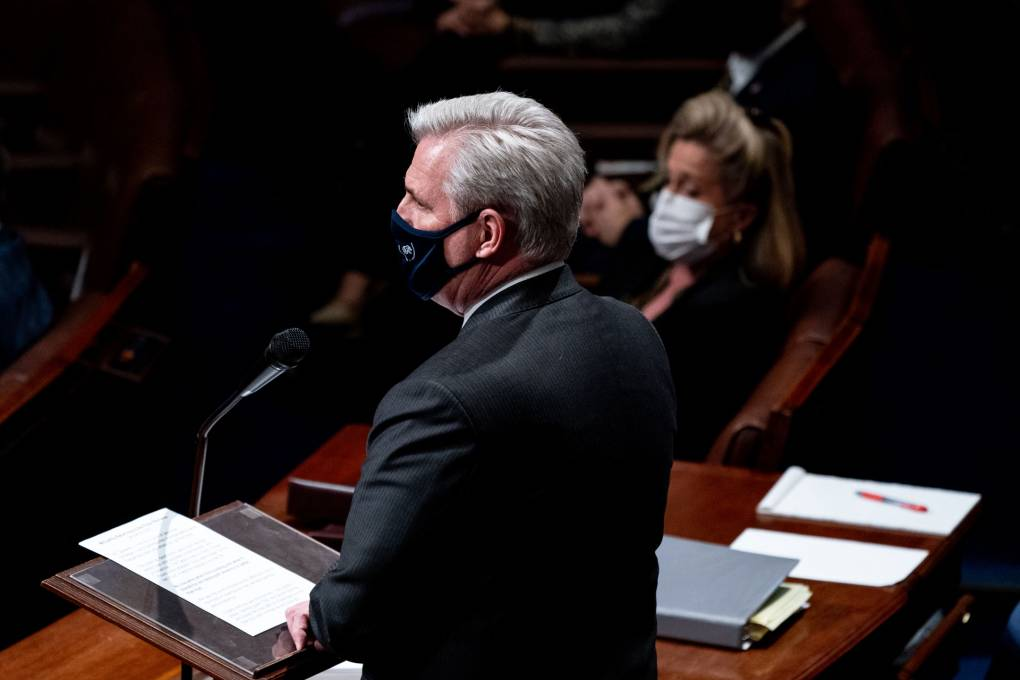 Kevin McCarthy speaks in the House chambers