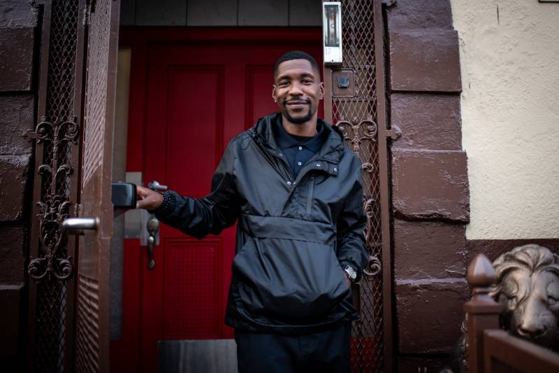 Marquisse Moore outside his home