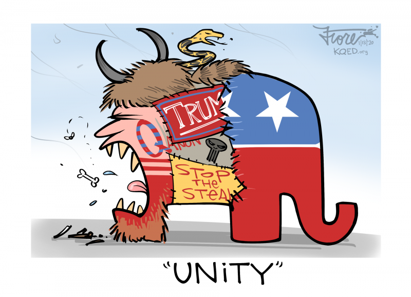 """A Mark Fiore cartoon showing the Republican Party elephant """"unified"""" with conspiracy theorists and Trump extremists."""