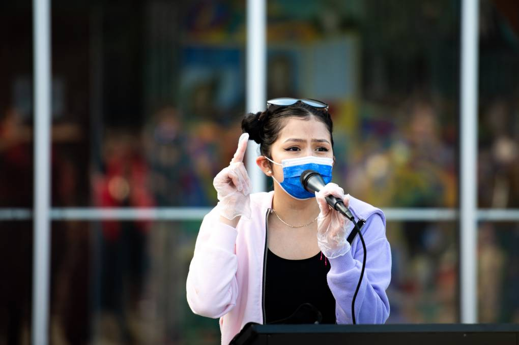 Student delegate Kathya Correa Almanza speaks during a rally at Lowell High School on Feb. 5, 2021, against recent racist incidents at the school.