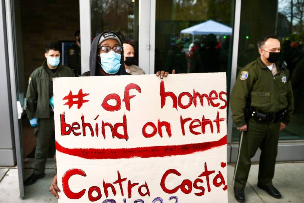 Derrick Sanderlin protesting in front of the Santa Clara Superior Court in San Jose on Jan. 27, 2021.