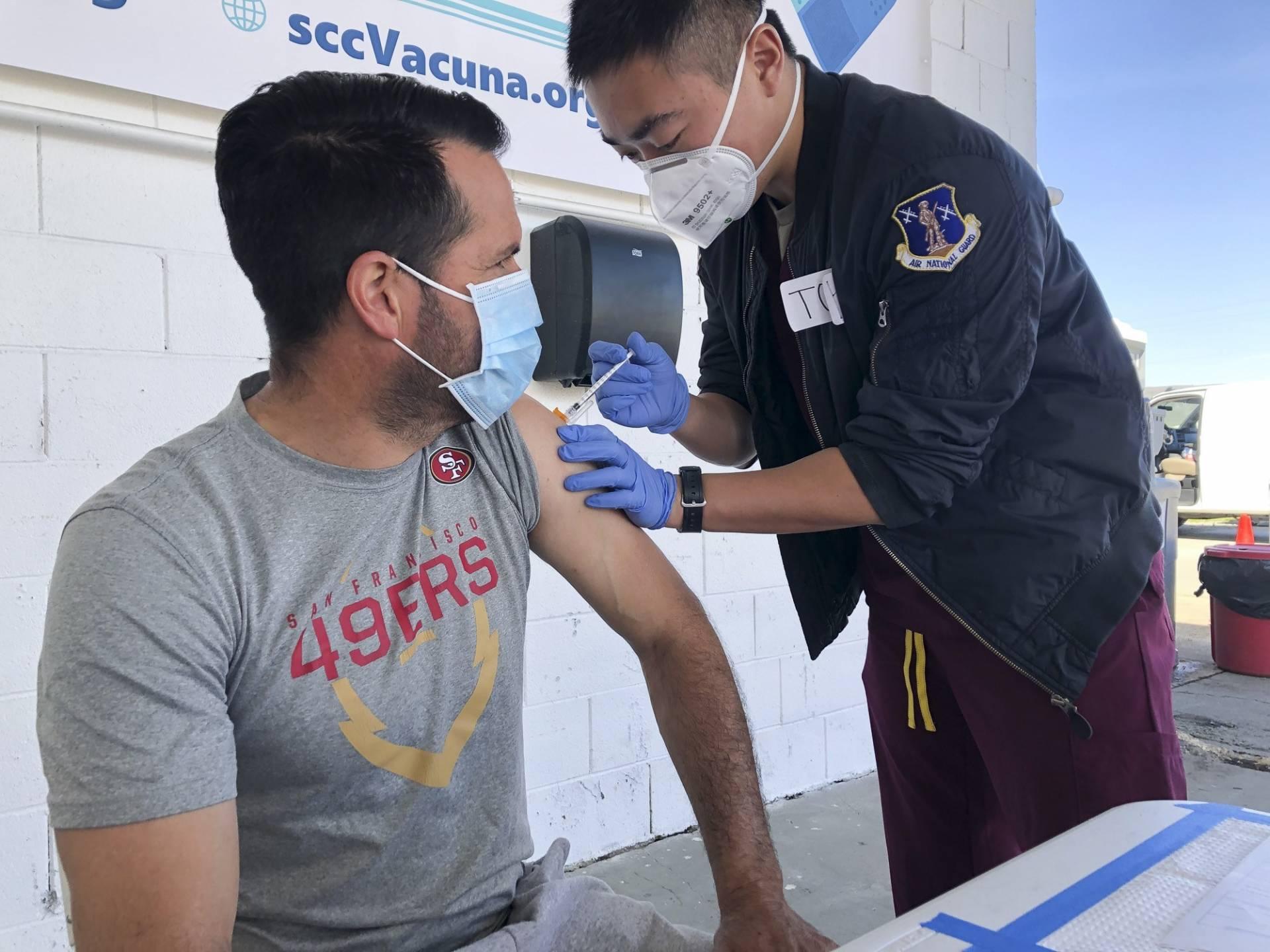 farmworker gets vaccine shot