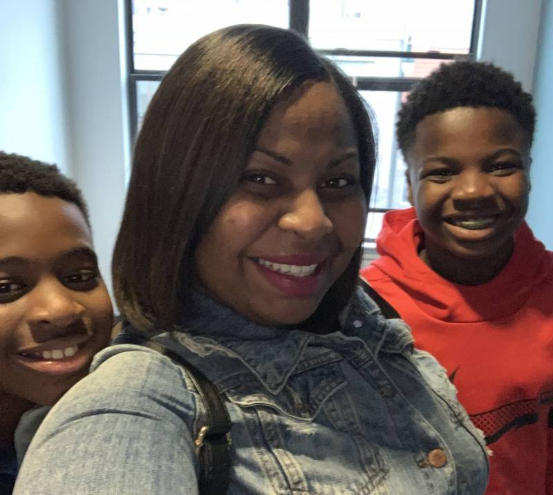 Carolyn Bims-Payne and her two sons, who are enrolled in OUSD public schools.