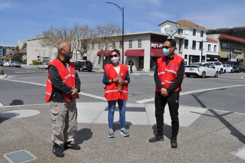 Rich Saito, Jean Yoshida and Ray Chin are getting ready to patrol the streets of Japantown near downtown San Jose with their group Japantown Prepared. The group started patrolling streets after an increase in attacks against Asian Americans.