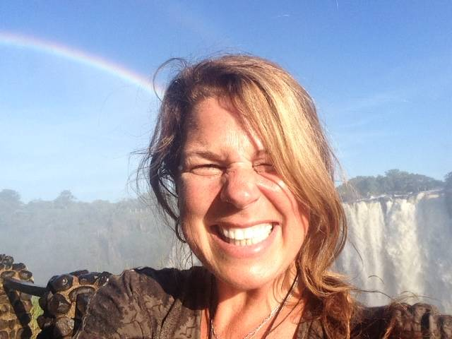 Penny Nelson at Victoria Falls in Zambia on March 17, 2015. She studied chimps in Uganda, and maintained a lifelong love of Africa: it's people, as well as its wildlife.