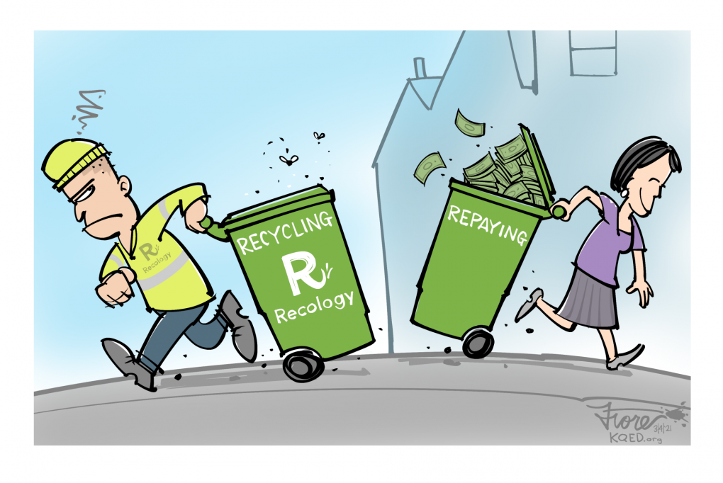 """A Mark Fiore cartoon showing a Recology recycling collector taking a recycling can past a ratepayer bringing a can to the house that says """"repaying."""""""