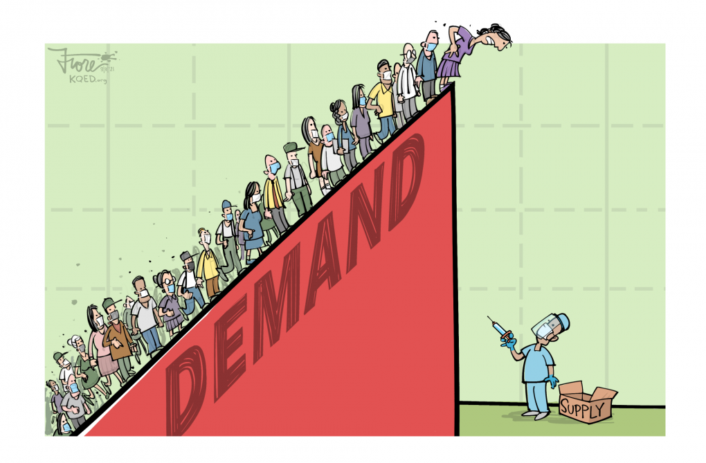 "A Mark Fiore cartoon featuring a graph of vaccine supply and demand, with a steep demand line covered with people awaiting their vaccine coming to a cliff where an empty box, nurse and syringe ""supply"" await."