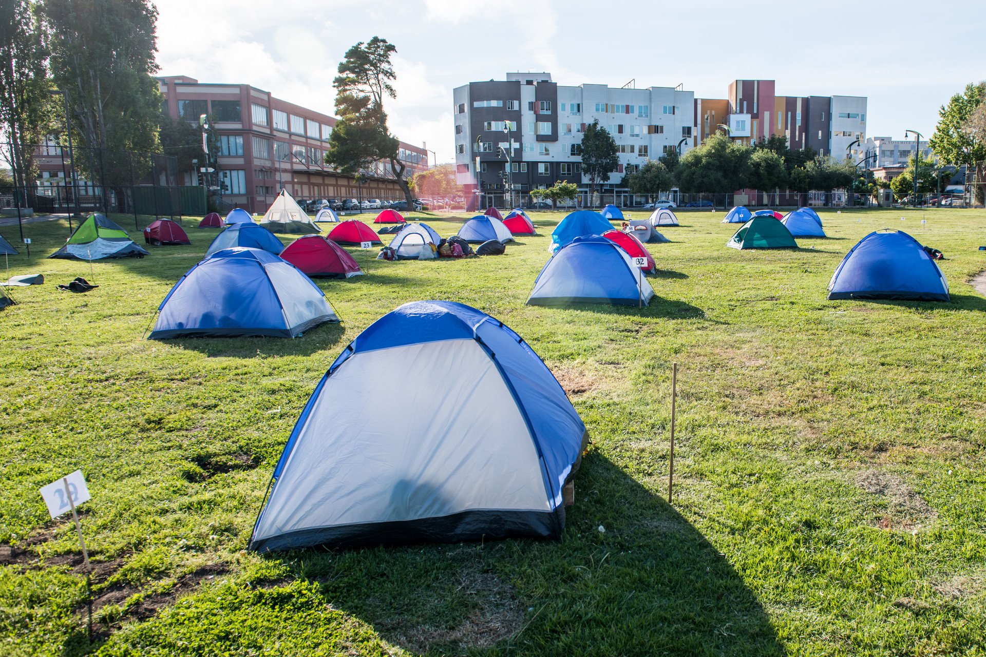Tents are spaced for social distancing at Bay View Park K.C. Jones Playground on May 5, 2020.