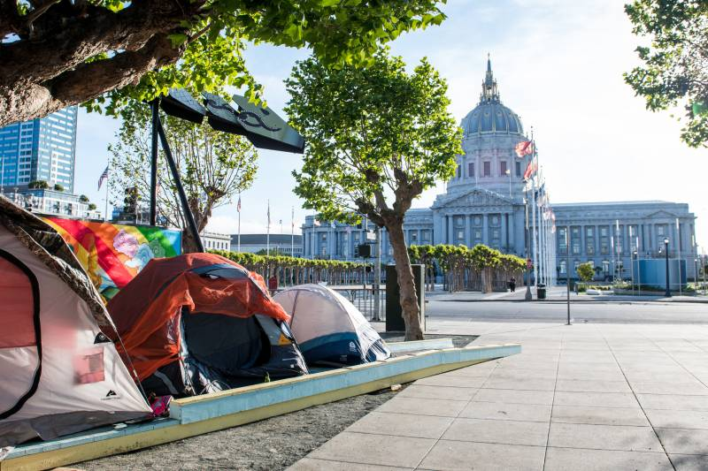 Tents line Fulton Street near City Hall on April 5, 2020.