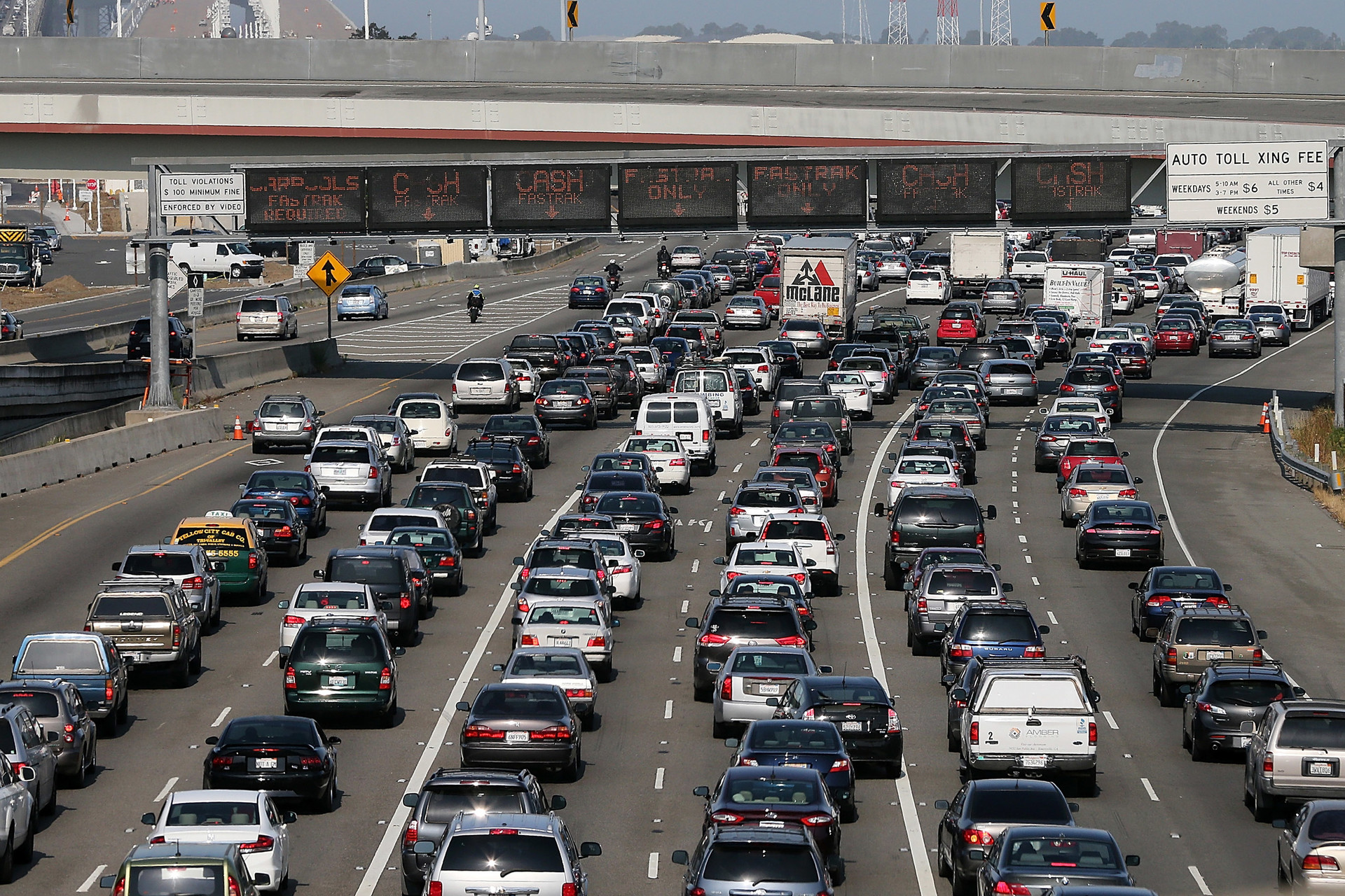 Commuter traffic backs up at the toll plaza to the San Francisco-Oakland Bay Bridge.
