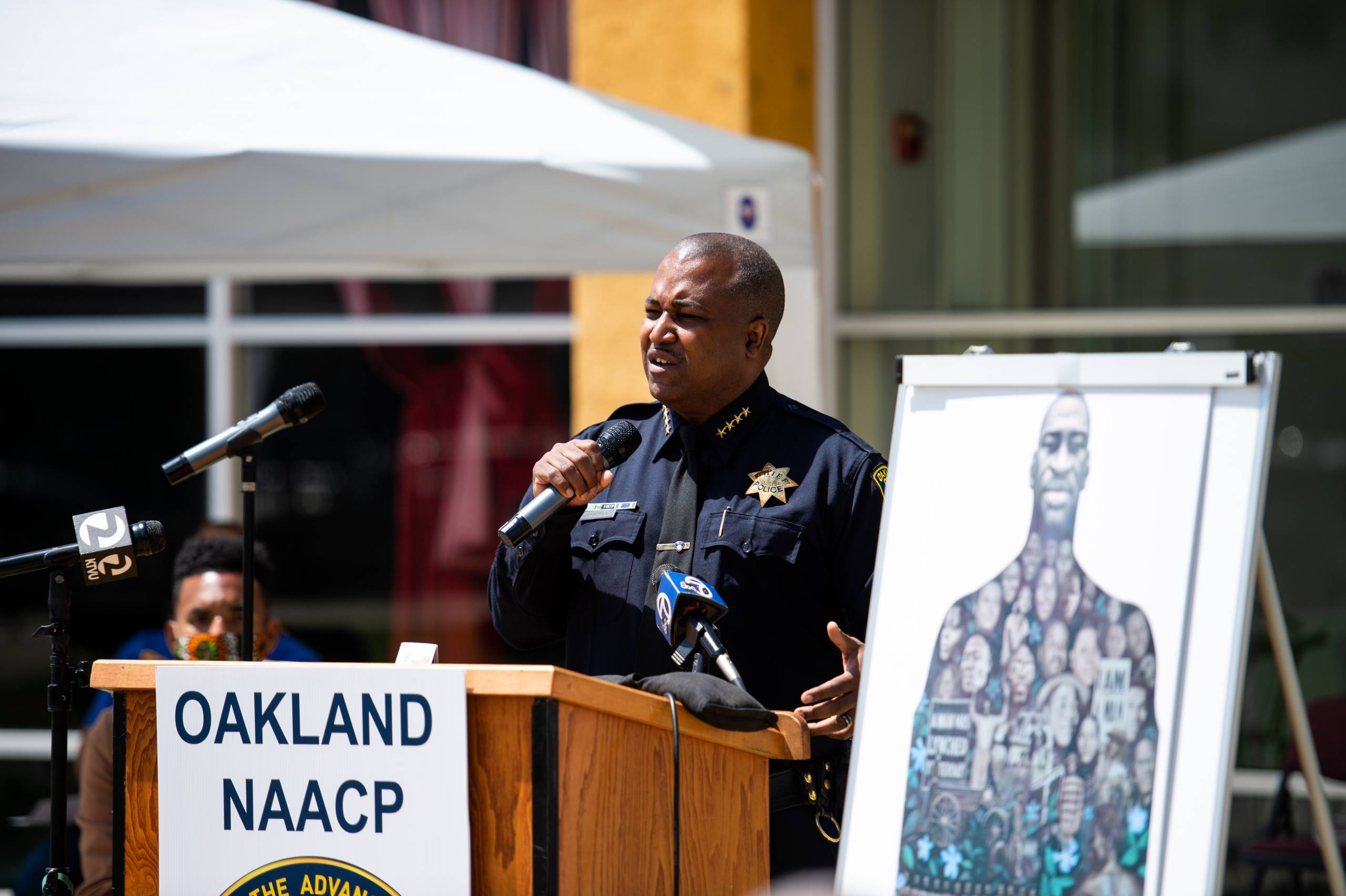 Oakland Police Chief LeRonne Armstrong speaks during a remembrance event to pay tribute to George Floyd.