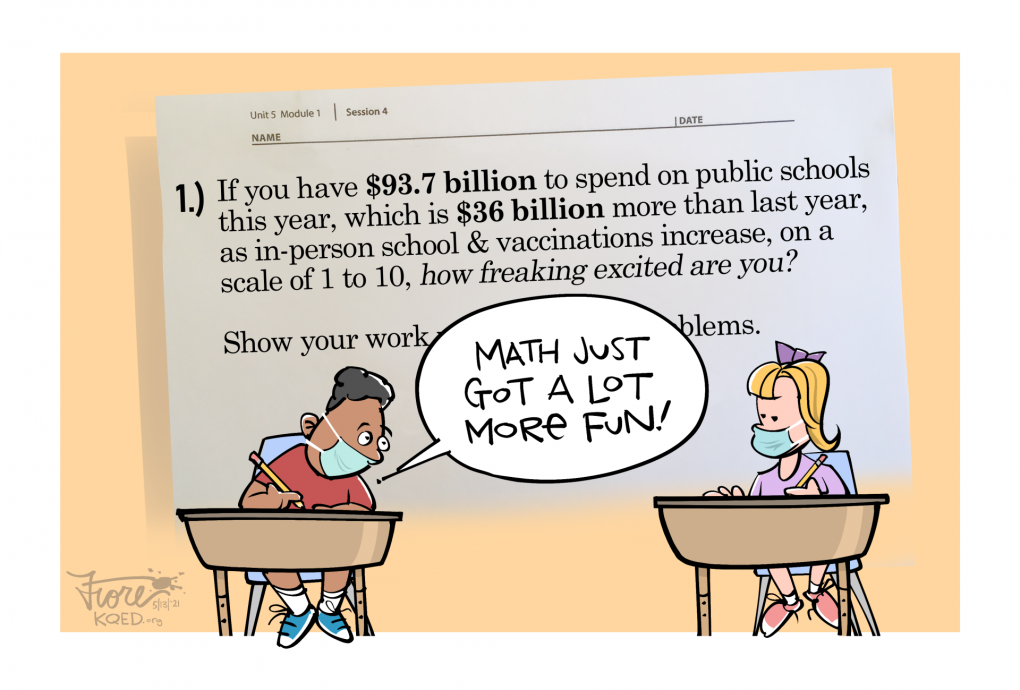 A Mark Fiore cartoon highlighting the surprise budget surplus. Two kids in school are doing a math problem that outlines the rosy budget outlook.