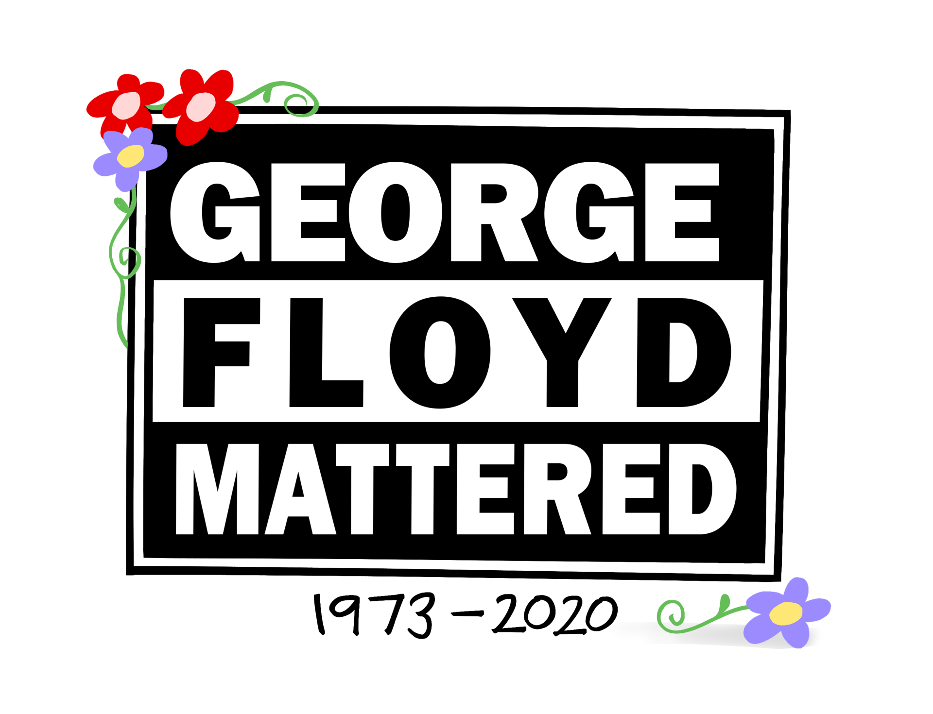 """A Mark Fiore cartoon commemorating one year since George Floyd was killed by police. The cartoon says """"Geroge Floyd Mattered, 1973-2020."""""""