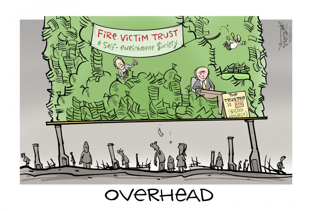 """A Mark Fiore cartoon about the PG&E Fire Victim Trust that is charged with distributing money to fire victims. The cartoon shows a huge pile of money and a trustee making $1500 an hour balancing over the heads of destroyed homes with people standing down below looking upwards. The caption says, """"overhead."""""""