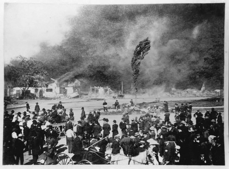 The Second Market Street Chinatown burned down in an arson fire in 1887. There were no recorded casualties, but the entire Chinese community in San Jose was displaced.