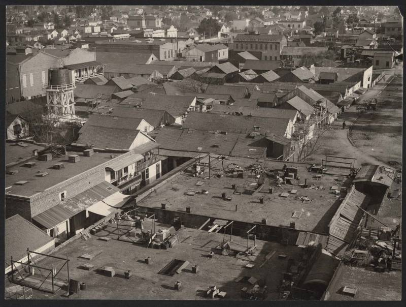 A rooftop view of San Jose's Second Market Street Chinatown. This Chinatown was much larger than any other Chinatown which came before it.