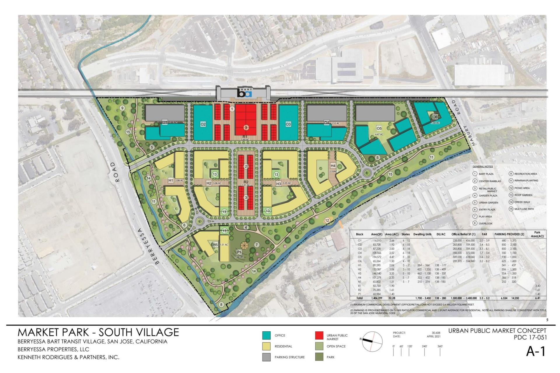 The concept map created by the both the developers and owners of the Flea Market site that shows what the property could look like with an urban village if San Jose approves its rezoning request. The Berryessa/North San Jose BART station is visible on the upper part of the map.