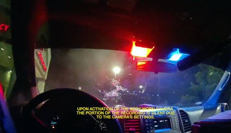 A still from body camera footage taken by the driver of an unmarked Vallejo police pickup truck shows the muzzle of the rifle an officer sitting in the back seat used to shoot Sean Monterrosa through the vehicle's windshield on June 2. Multiple bullet holes can be seen in the windshield.