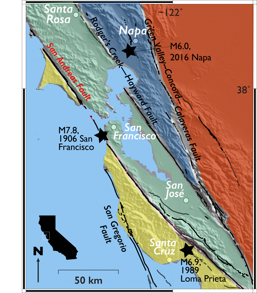 A figure showing the major plate boundaries in the Bay Area.