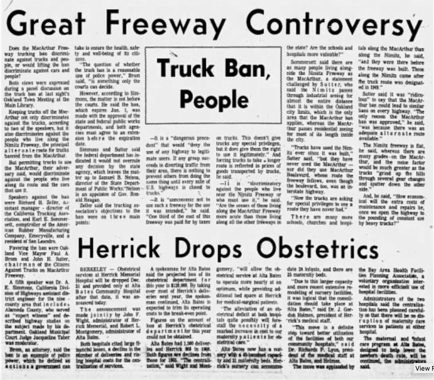 Oakland Tribune article from November 14, 1967