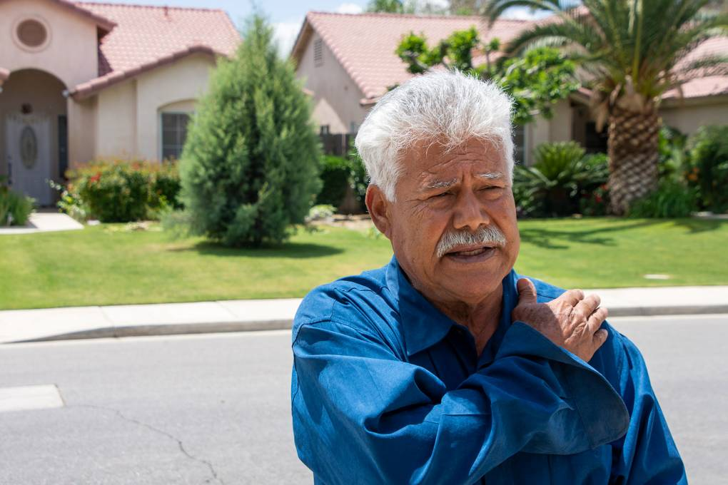 Arturo Gonzalez stands outside his home in Bakersfield, California. Gonzalez settled with the city of Bakersfield for injuries he received after officers struck him in January 2015. Anne Daugherty/UC Berkeley