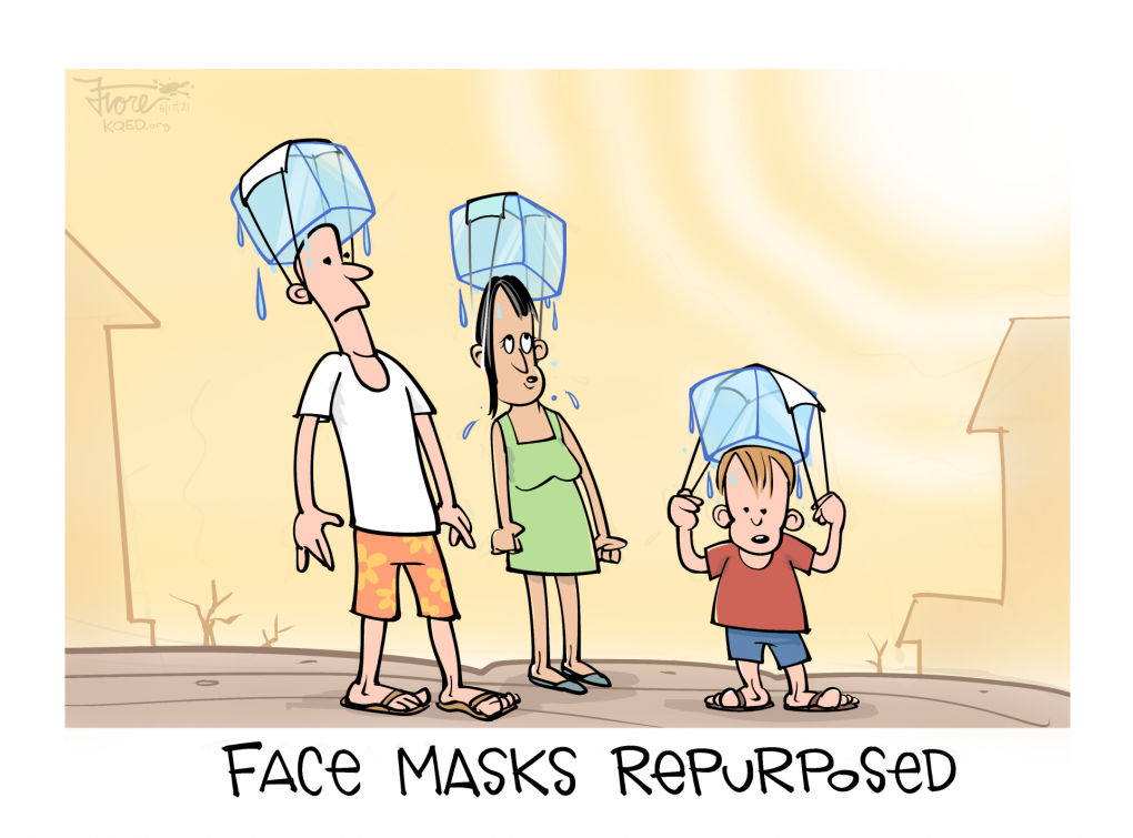 """A Mark Fiore cartoon about the current heat wave showing a family wearing ice blocks on their heads that are held in place by face masks, Captioned, """"face masks repurposed."""""""