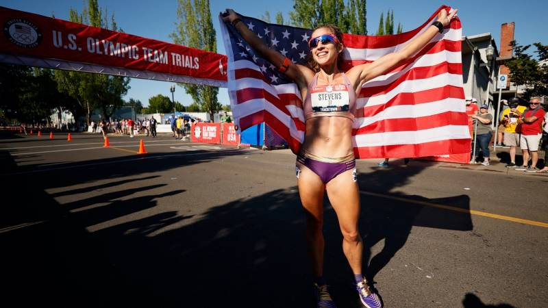 Robyn Stevens celebrates after finishing first in the Women's 20km Racewalk Final on day nine of the 2020 U.S. Olympic Track & Field Team Trials at Hayward Field on June 26, 2021 in Eugene, Oregon.
