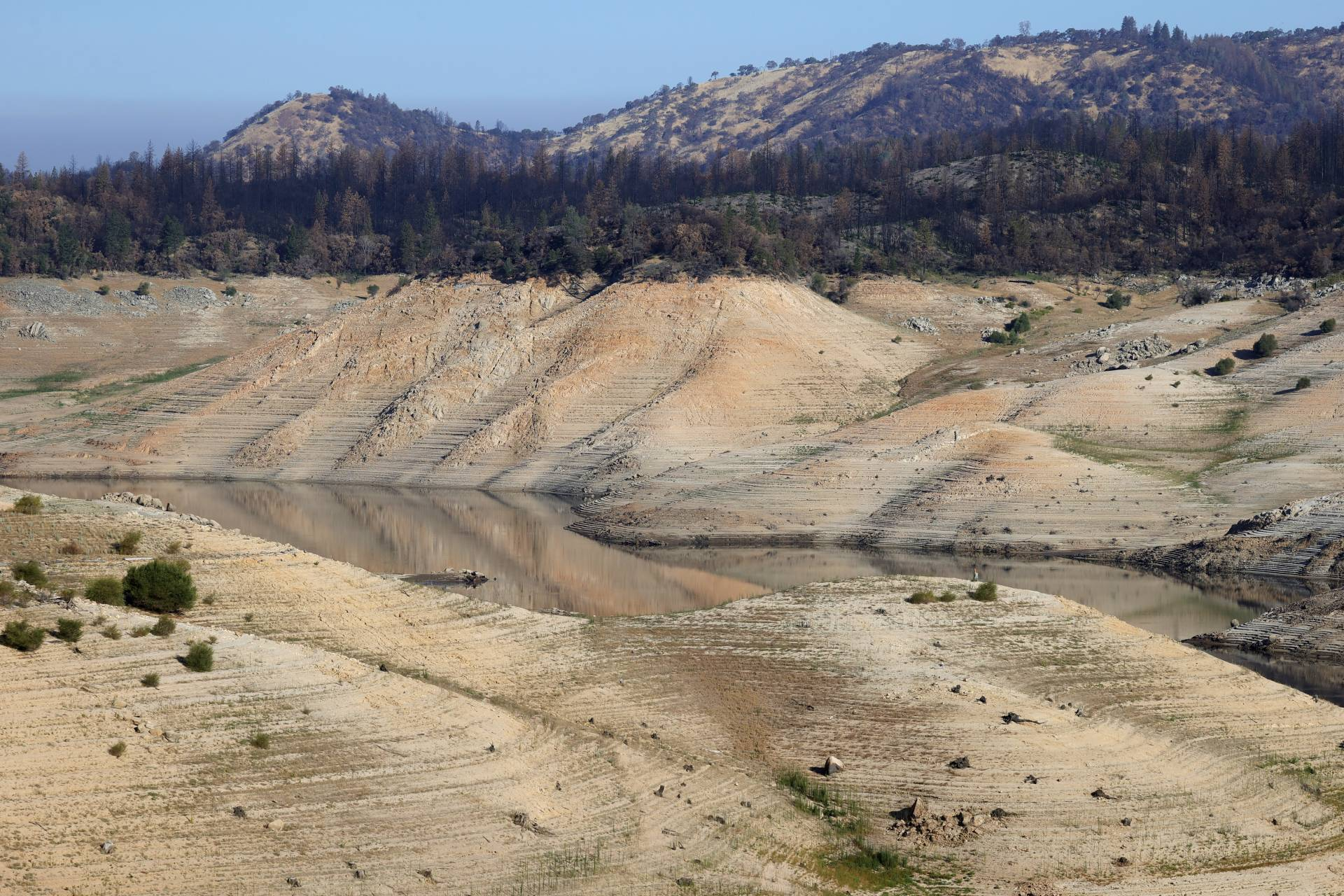A section of Lake Oroville, shown July 22, 2021, when it had fallen to 27% of capacity.  Justin Sullivan/Getty Images
