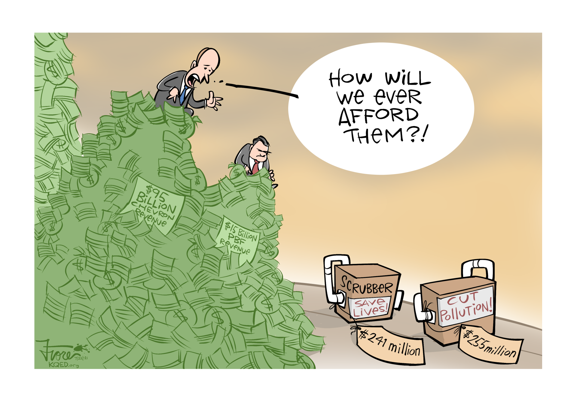 """A Mark Fiore cartoon showing the CEOs of Chevron and PBF Energy atop billions of dollars while they look at air pollution devices that cost around $250 million. The Chevron CEO says, """"how will we ever afford them?"""""""