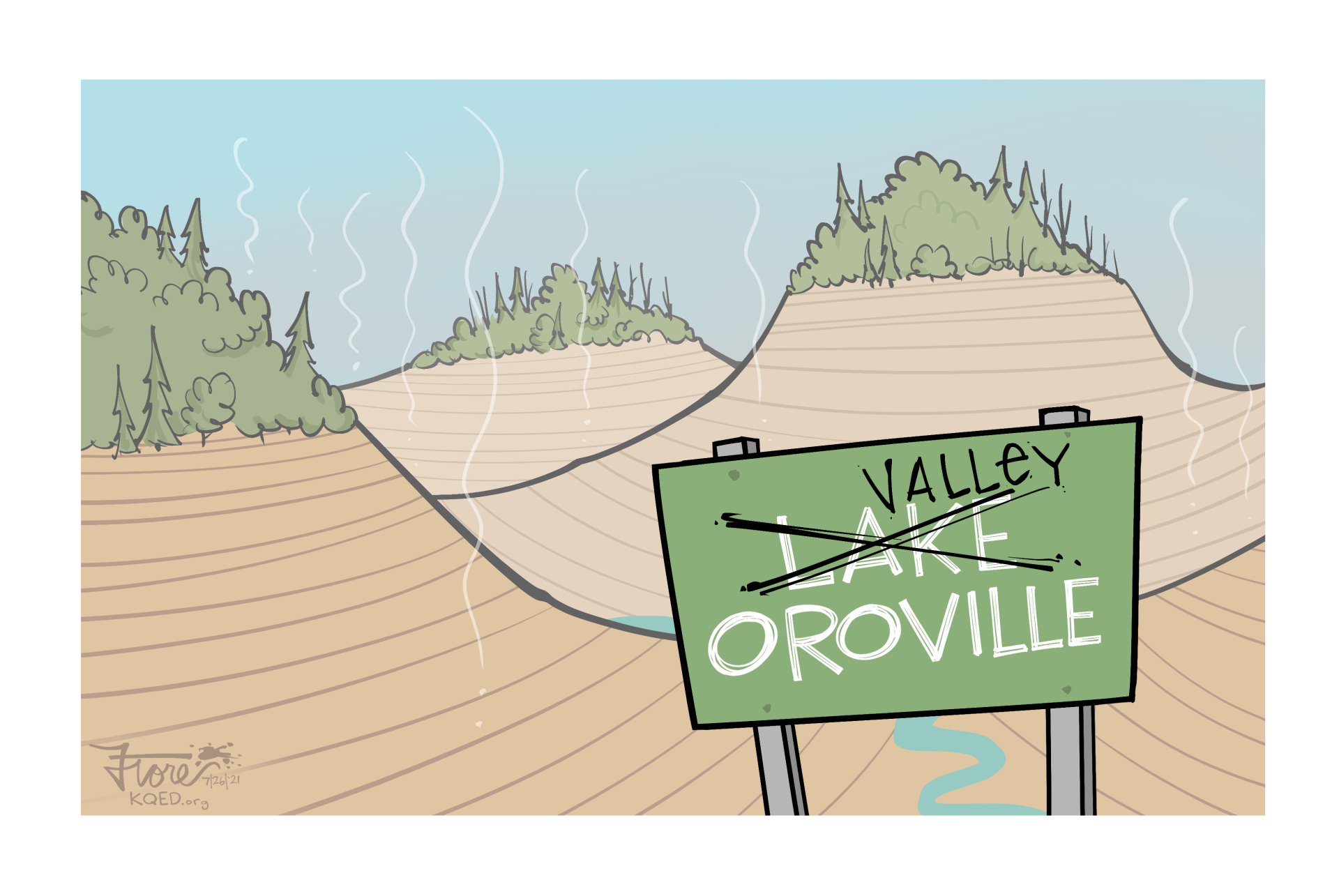 """A Mark Fiore cartoon showing a nearly empty Lake Oroville with a """"Lake Oroville"""" sign crossed out to say """"Valley Oroville."""""""