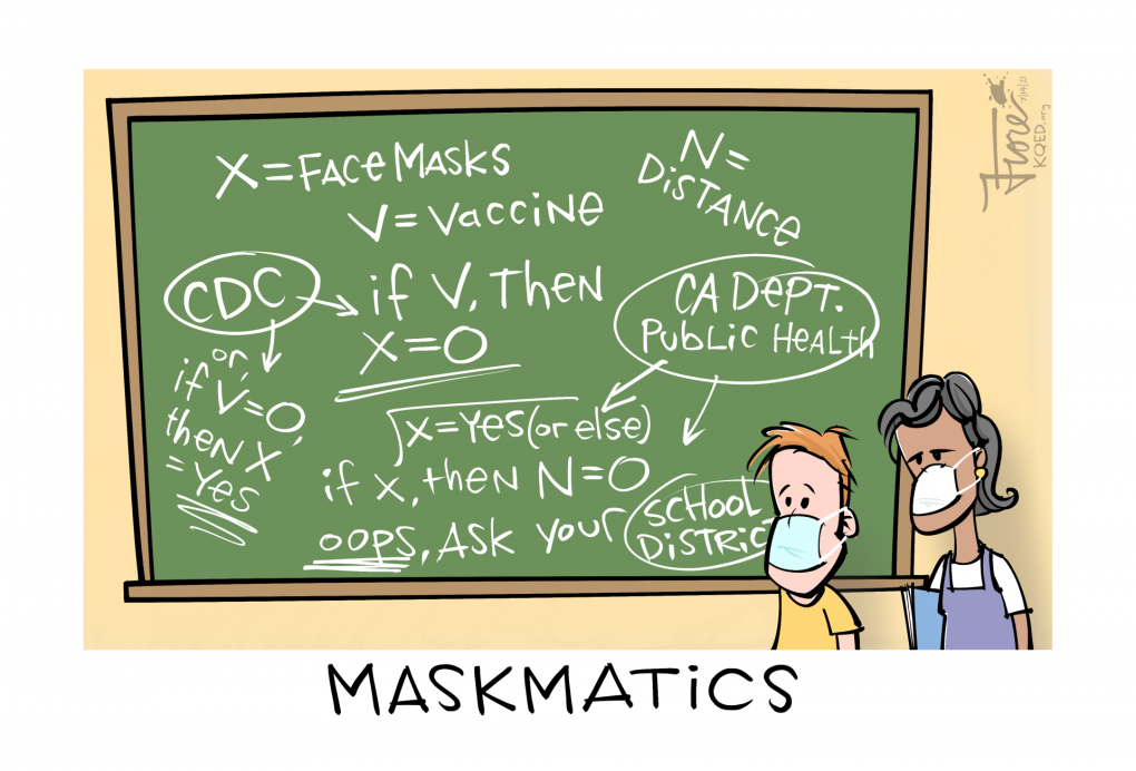 """A Mark Fiore cartoon showing two students with masks standing in front of a chalk board with mathematical style writing that looks confusing. X=face masks, V=vaccines, if V, then X=0, and similar equations. The cartoon's caption reads """"Maskmatics."""""""