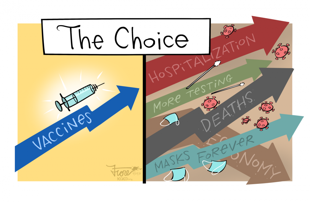 """A Mark Fiore cartoon titled, """"The Choice"""" that shows rising vaccinations on the left side while the right side shows rising hospitalizations, testing, deaths, masks forever and a plummeting economy."""