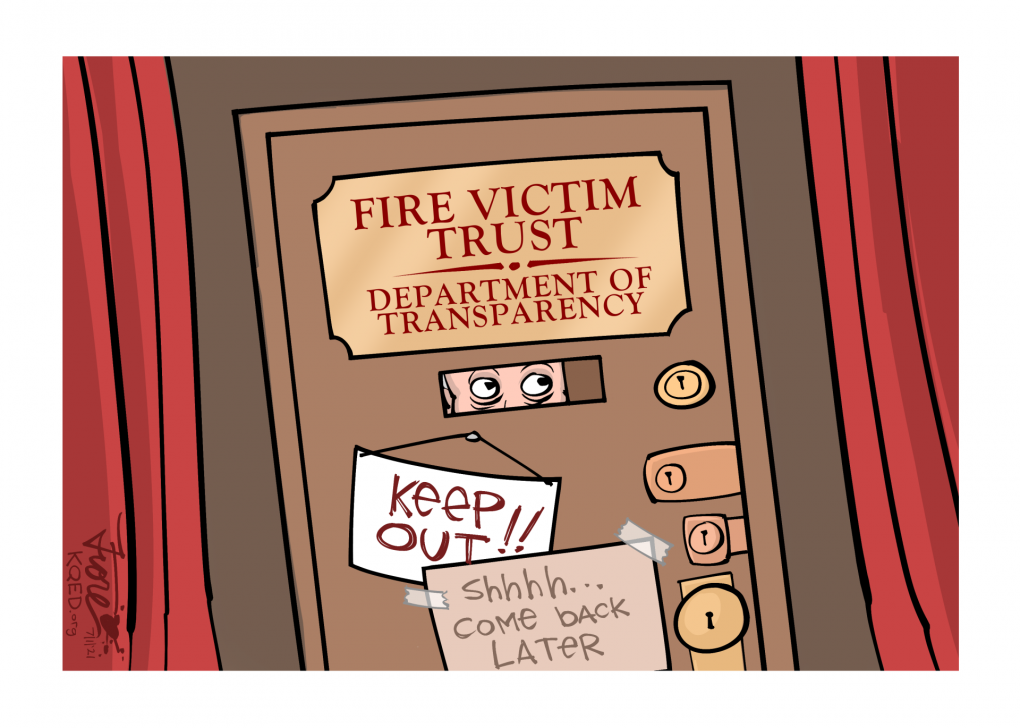 """A Mark Fiore cartoon showing a door with many deadbolts and locks and a speakeasy style window. The first sign on the door says, """"Fire Victim Trust, Department of Transparency."""" There are two additional, handmade-looking signs that say """"keep out"""" and """"shhh, come back later."""""""