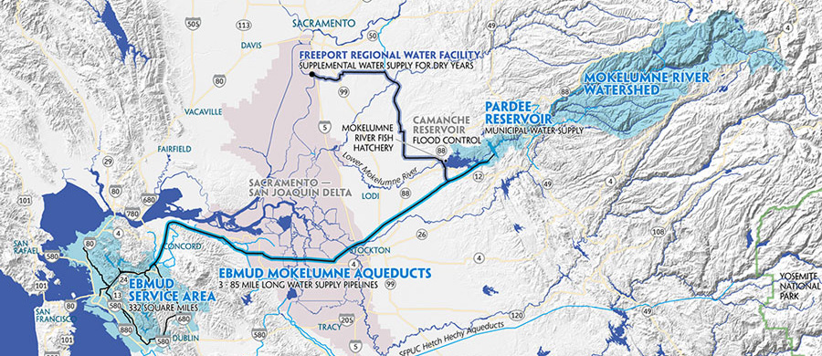 Map of the EBMUD aqueducts from the Mokelumne River Watershed.