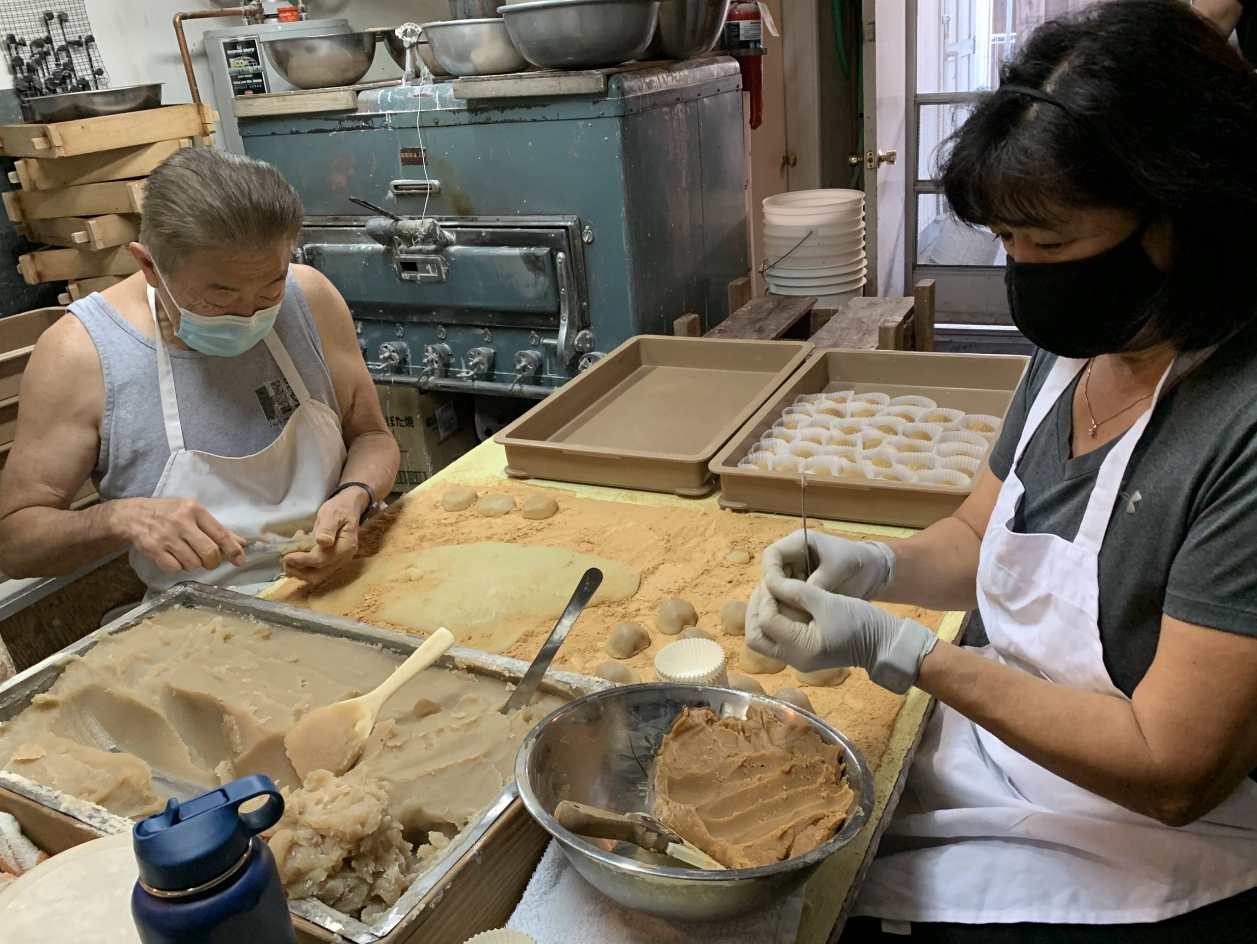 Tom and Judy Kumamaru make the peanut butter mochi, introduced into their lineup by customer demand.