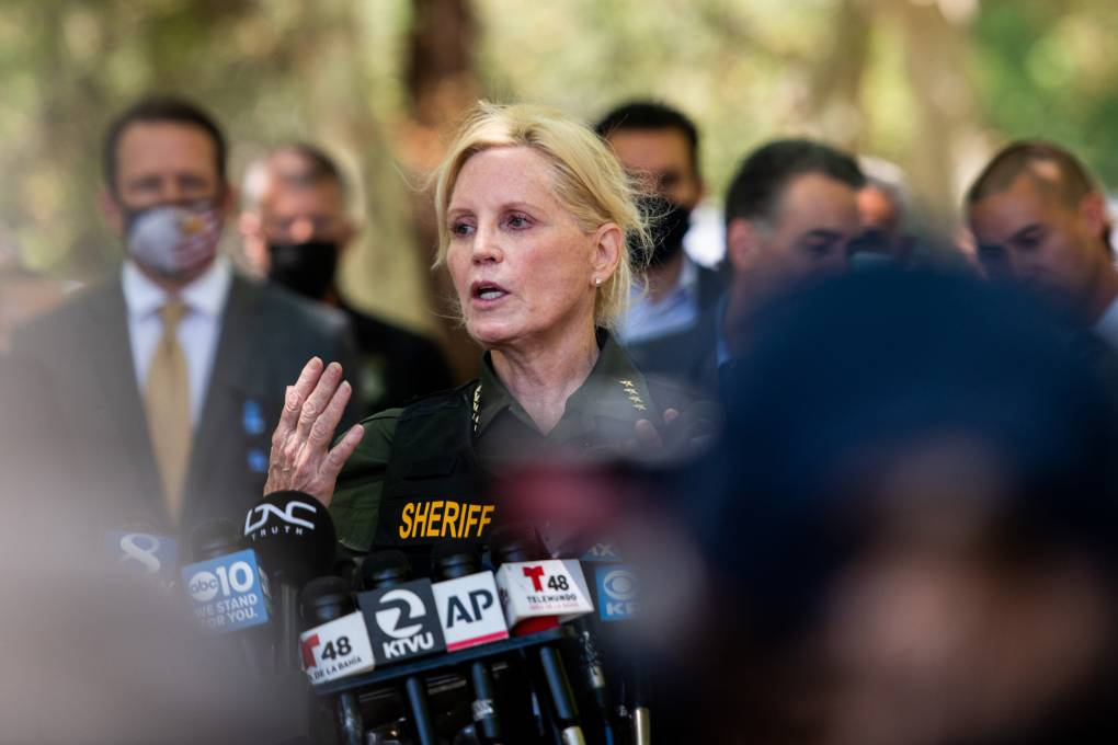 In the photo, Santa Clara County Sheriff Laurie Smith speaks during a press briefing.