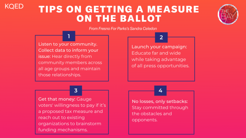 """A chart reads """"Tips on Getting a Measure on the Ballot"""" with 4 categories, which are covered in the article."""