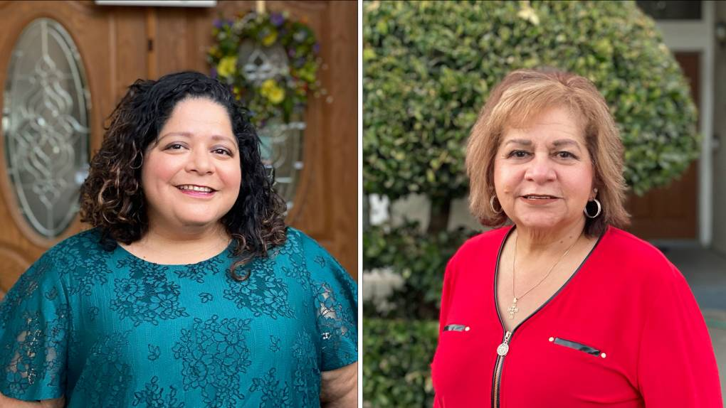 Side-by-side photos of an adult daughter and her mother, both smiling.