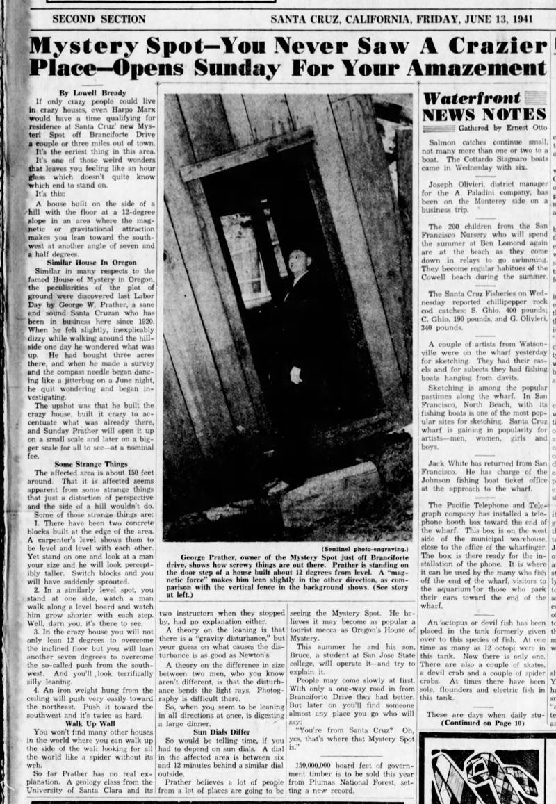 """Page of a newspaper from 1941 with the headline """"Mystery Spot--You Never Saw A Crazier Place--Opens Sunday For Your Amazement!"""""""
