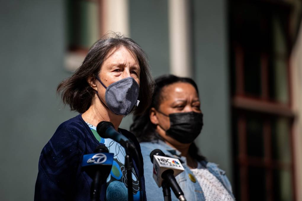 Senator Nancy Skinner, wearing a face mask and standing in front of microphones, looks into the distance.