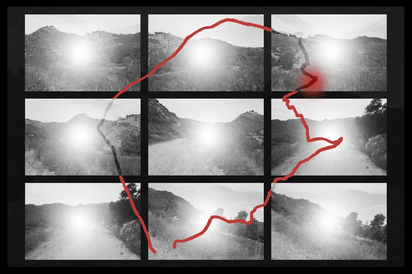 An illustration composed of nine black-and-white squares that include images of the Lippe Hike, overlaid with a red outline of the trail.