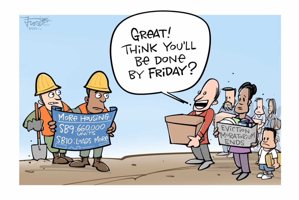 """Cartoon: A man with a moving box saying, """"Great! Think you'll be done by Friday?"""" to a construction crew promising 660,000 more housing units."""