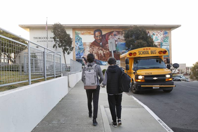 Two San Francisco high school students walk to school.
