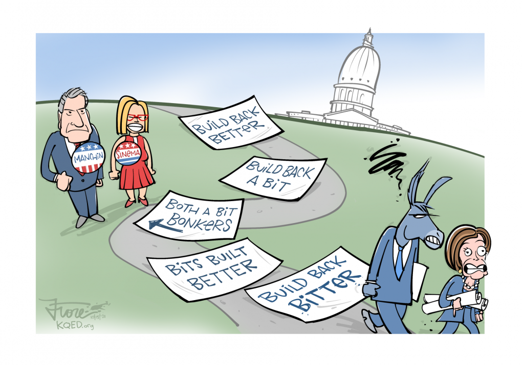 """Cartoon: Featuring Senators Joe Manchin and Kyrsten Sinema and House Speaker Pelosi. We see a path with various versions of the Build Back Better plan on it, with the final one reading """"Build Back Bitter."""""""