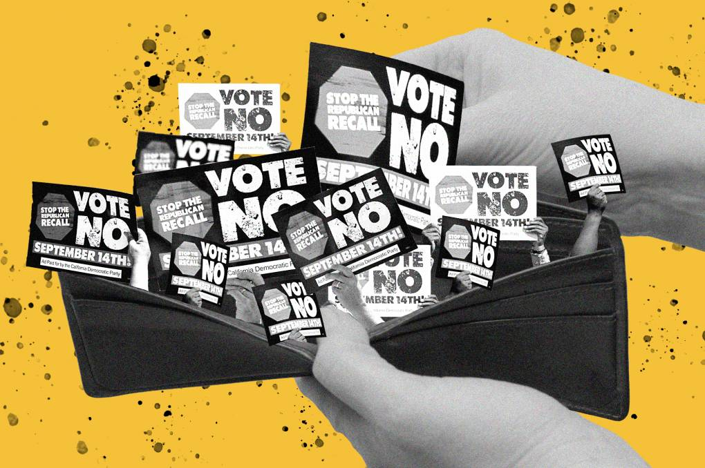 An illustration shows a pair of hands opening up a wallet with many 'Vote No on the Recall' signs.