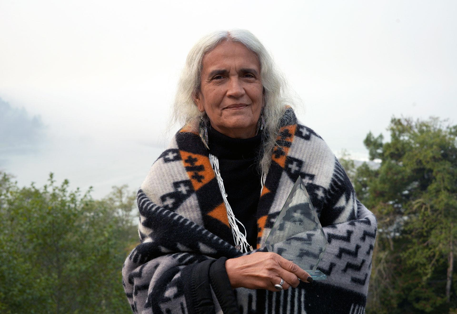 Profile shot of Judge Abby Abinanti standing outside