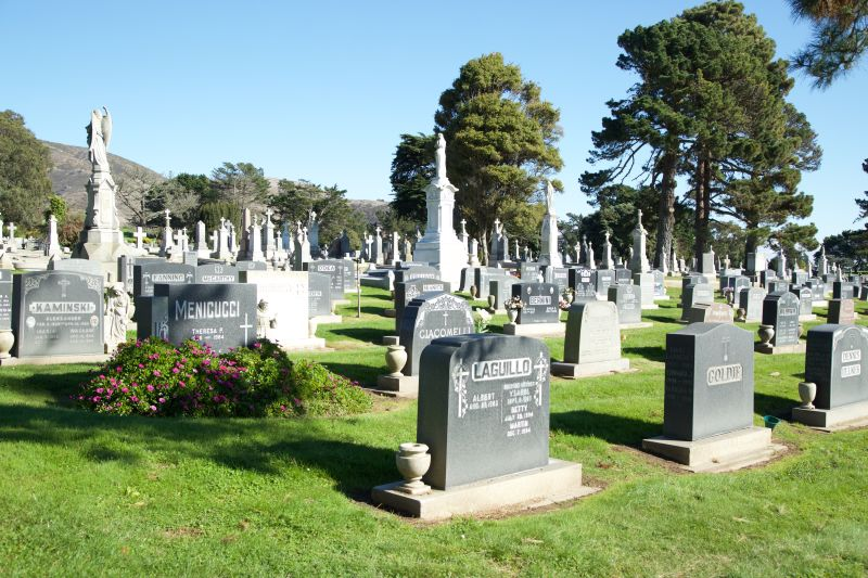 In many parts of Colma, neat rows of gravestones are visible for as far as the eye can see.
