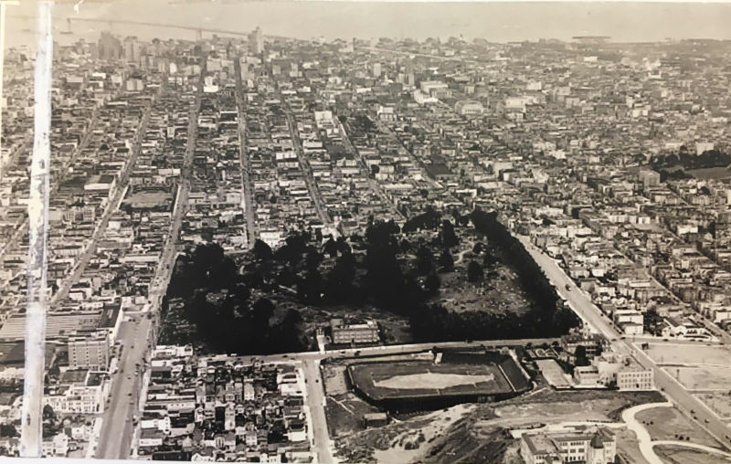 Calvary cemetery from above in the 1930s. (Colma Historical Association)